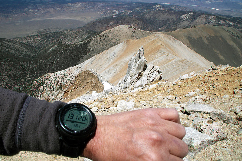 My altimeter was only 20 feet off. Boundary is the highest peak in Nevada.