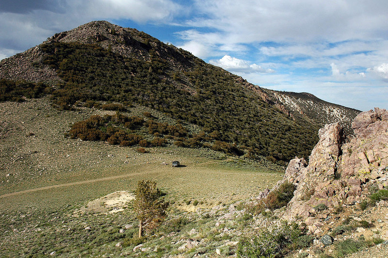 Hiked around the area to check things out. That's my truck parked on the saddle.