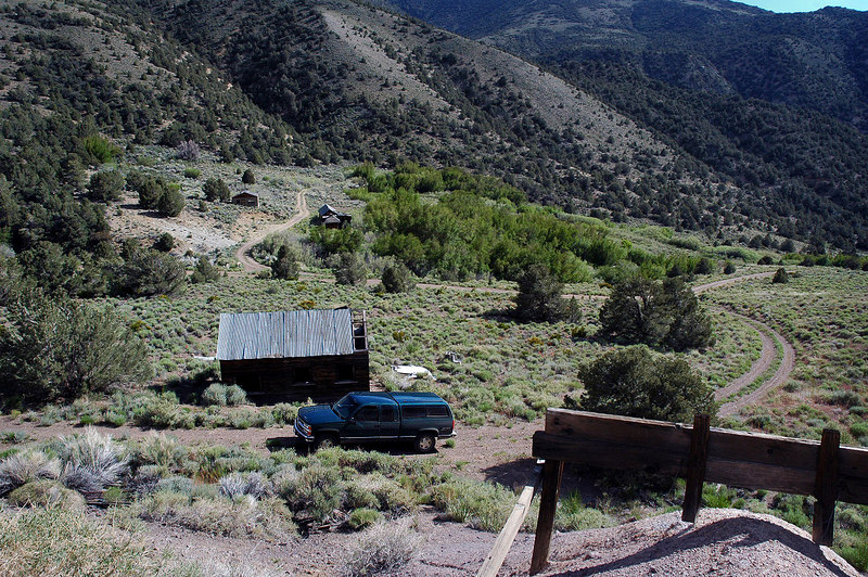 Looking down on the mini ghost town from the mine entrance.