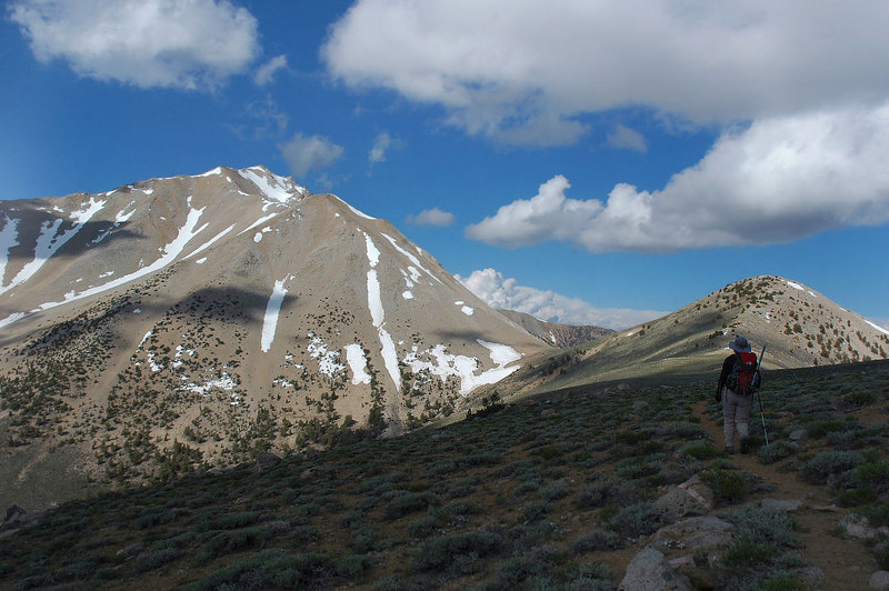 Heading towards Trail Canyon Saddle, the low spot up ahead. Great view of Bountary from here.