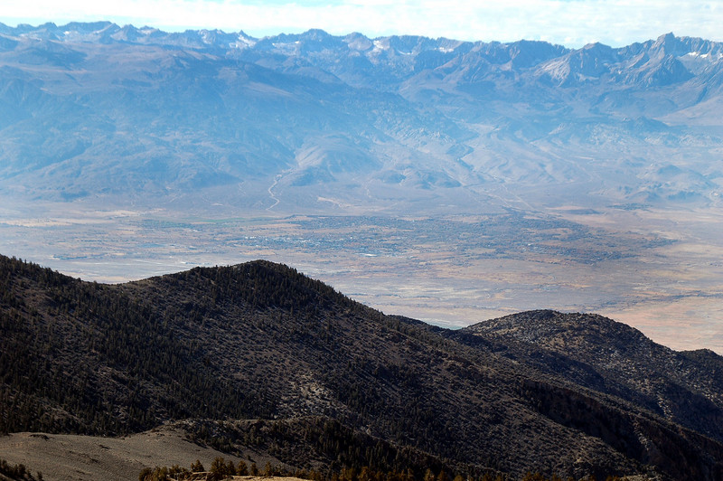The town of Bishop, 7,500 feet below.