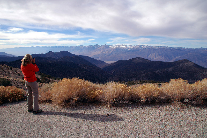 Sooz getting a shot of the Sierra Mountains to the west from the White Mountain Road.