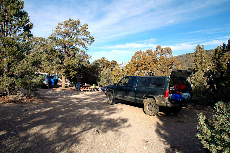 At the Grandview Campground. Yesterday we hiked up County Line Hill and Blanco Mountain. Today we are going to hike Campito Mountain.