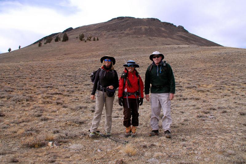 Sooz, Cori and me with Campito Mountain.