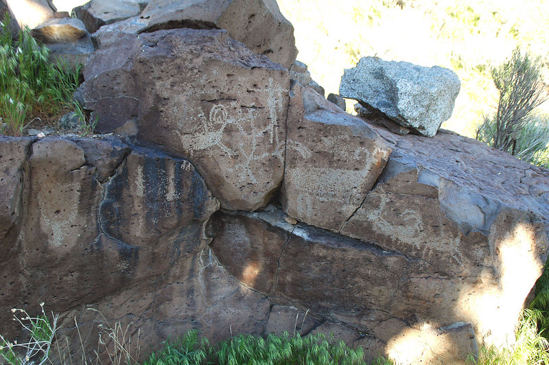 The petroglyphs at the corral. We were about to take a snack break here when Sooz saw some wild horses further up the canyon.