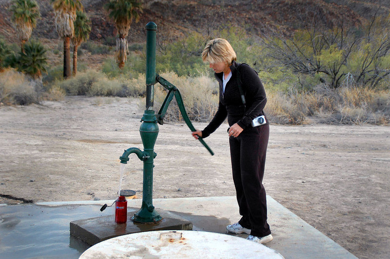 Sunday morning, Sooz getting water at the campground's pump.