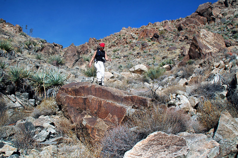 Sooz on a big rock. As rough as this canyon looks, it was easy to find a good route through it.