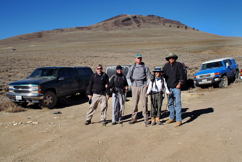 Joe (me), Sooz, Jim, Cori and Tom with Campito Mountain in back, we'll hike that one tomorrow.