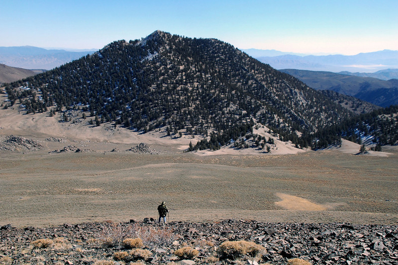 View of Blanco Mountain as we hike down County Line Hill's east slope.