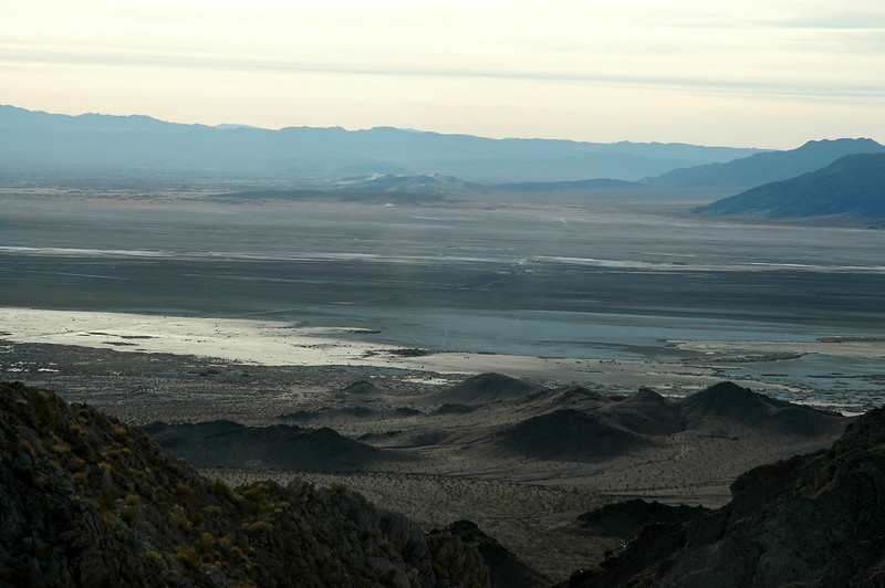 A section of the Mojave Road can be seen crossing Soda Lake.