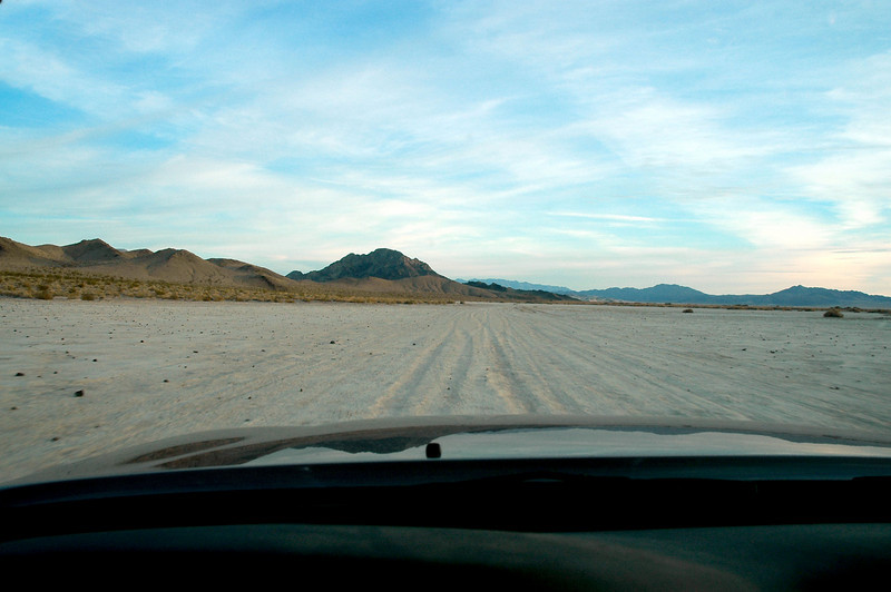 Driving on Soda Lake again. We saw a place by a mine earlier that looked like a good place to camp.