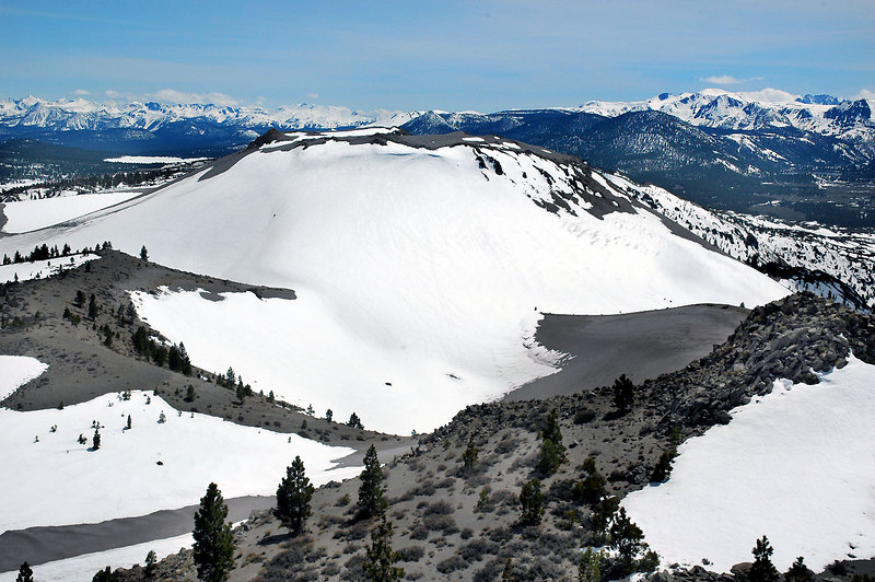 A view of the snow covered crater to the south.