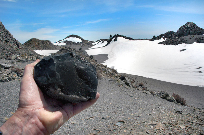 This piece of obsidian was on the north edge. This is looking across the crater to the south.
