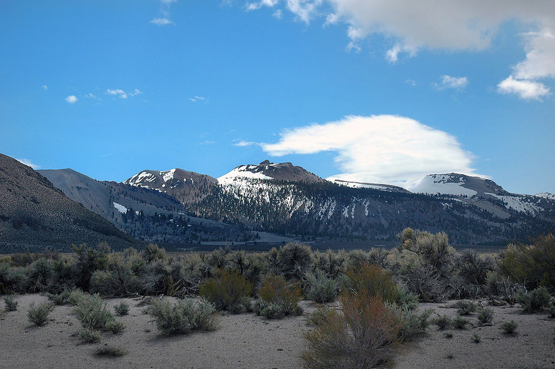 A view of the Mono Craters west side. Crater Mountain is the one in the middle. I'll be climbing it from the east side.