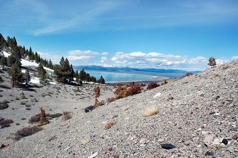 My last look at Mono Lake from the saddle as I head down. Plan to follow the ridge down for a while to avoid the snow covered slope.