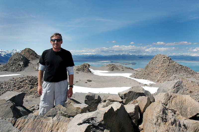 Me, Joe on the southeast peak with Mono Lake in the background. This shot shows most of the peaks on the crater rim.