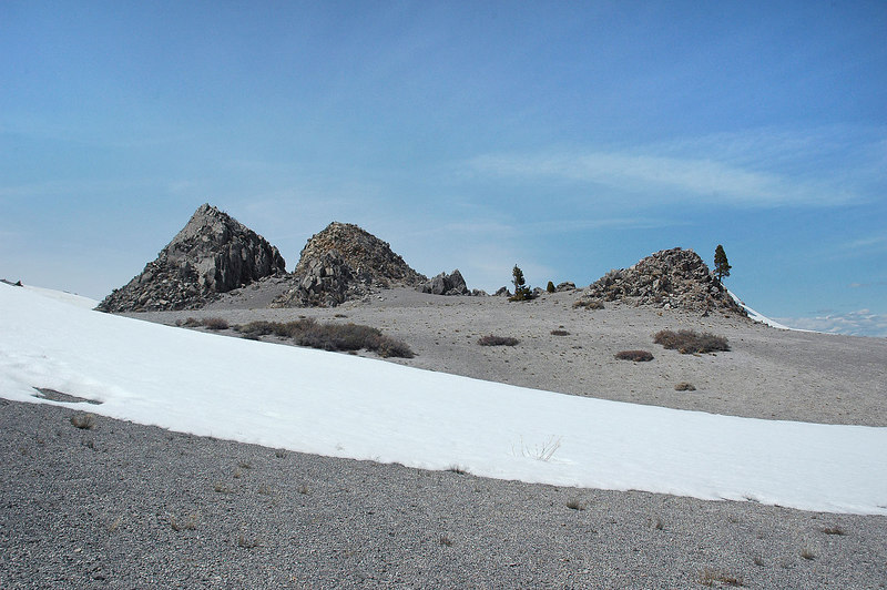 On the top of Crater Mountain. The summit is a shallow bowl with a lot of mini peaks on the rim. This view is from the southeast edge.