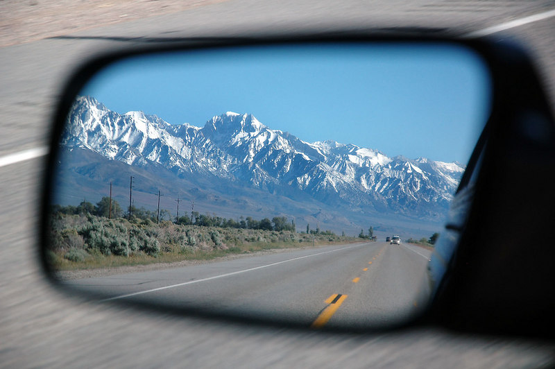 Snow covered Sierra in the rear view mirror from Hwy 395. Saturday morning, driving to the Mono Craters to climb Crater Mountain. Spent Friday night at the Tuttle Creek Campgrond in Lone Pine.