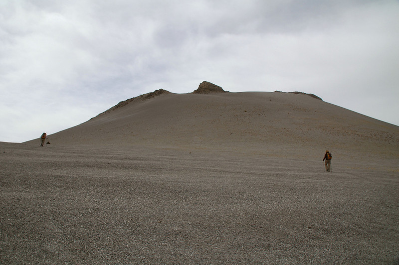 Looking up at South Crater. The volcaic sand was fairly easy to hike on.