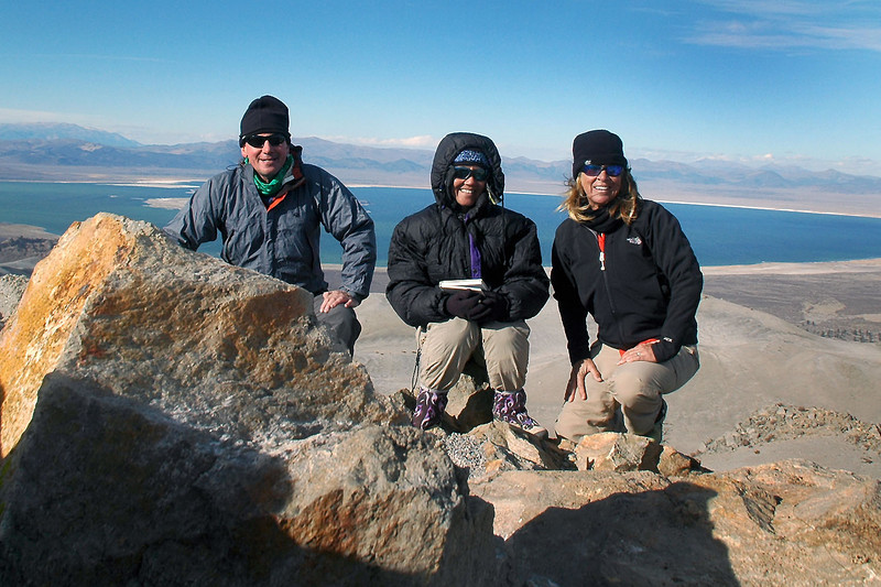 Me, Cori and Sooz at Crater Mountain's high point at 9,172 feet with Mono Lake behind us.