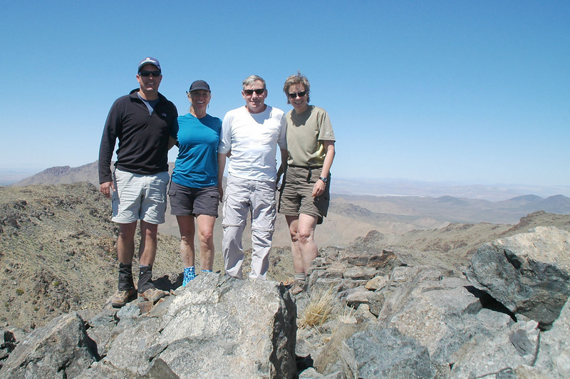 Chip, Sooz, me and Robin on East Ord Mountain at 6,168 feet.