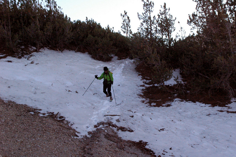 Sooz on one of the sections of trail with snow.