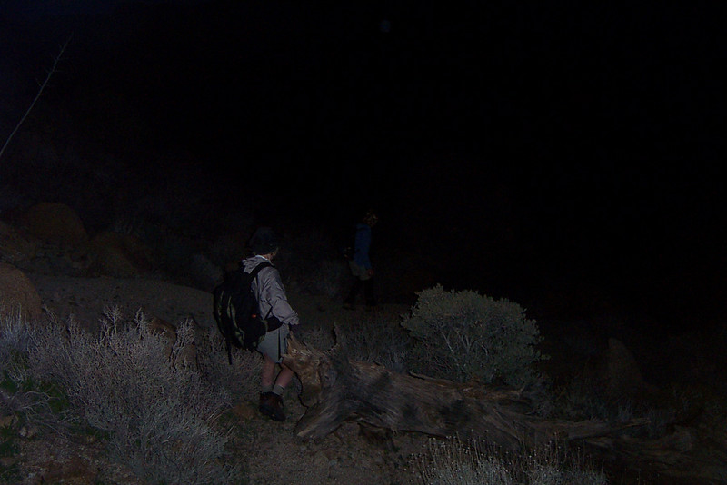 With about half a mile to go till we reached our campsite, it got dark. It's a good thing we marked the campsite on the GPS or we would never have been able to find it in the dark.