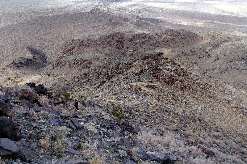 Following the ridge back down.