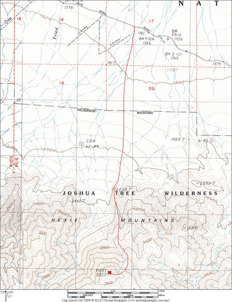 Map showing our route to the peak from the Pinto Basin Road. <br /> <br /> THE END