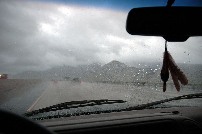 On the 10 Freeway. It was raining all the way from Pasadena to Palm Springs.