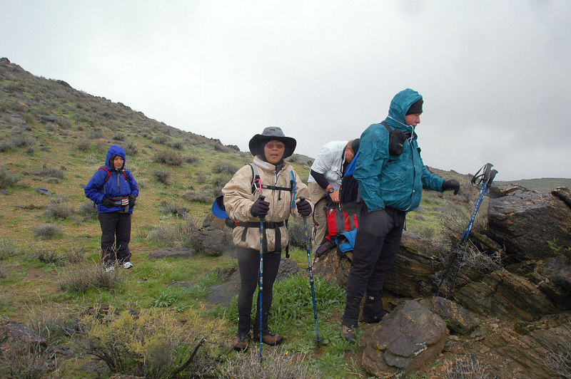 Starting to rain, we stopped to put on our rain gear here.