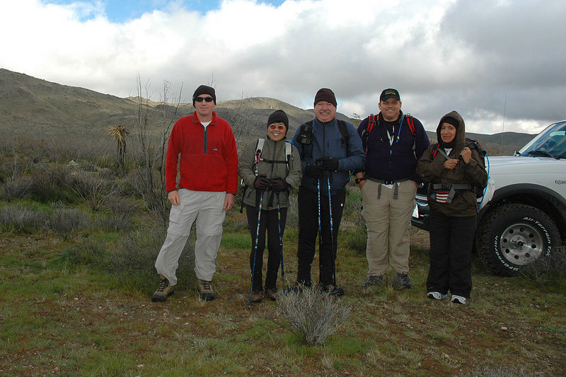 Joe (me), Juliet, Ron, Bruce and Gabriela ready to start the hike to Monument Moountain. After meeting at the Cottonwood Ranger Station we drove to this spot.