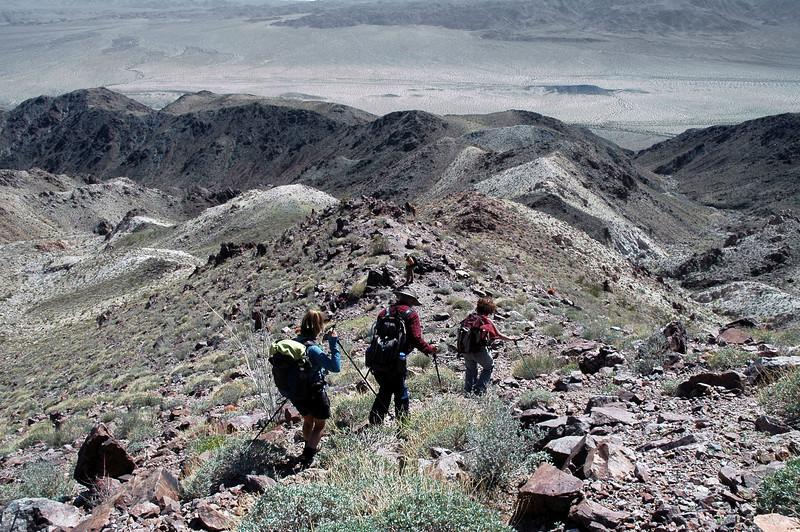 Hiking down on the ridge.