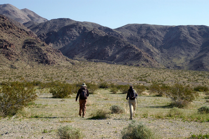 We had to hike about two and a half miles across the flats to reach the ridge that we will follow to the peak.