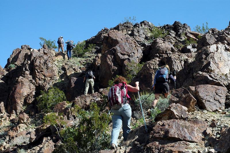 Starting the climb along the ridge.