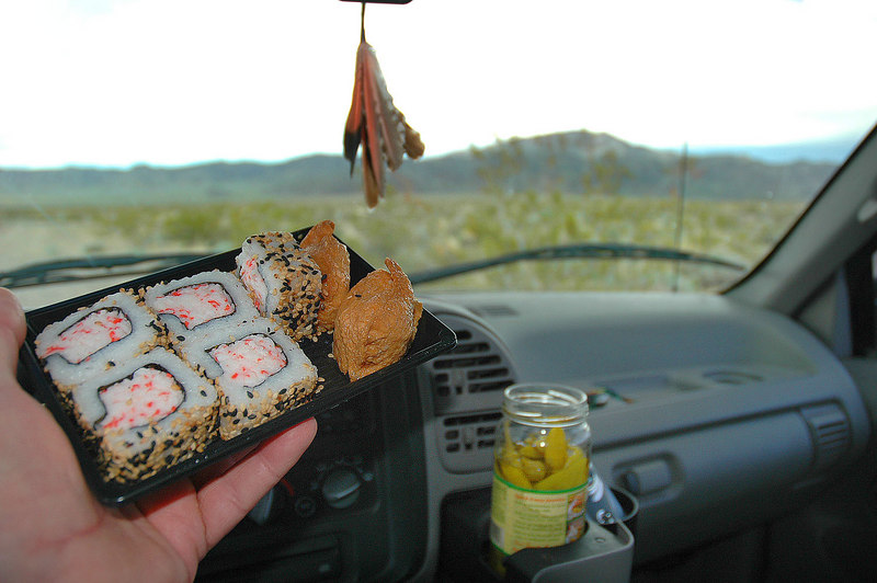 In the truck just minutes before the rain started. Was thinking about these California rolls & tofu pouches on the hike down. Tasted great with the peperoncini peppers. End to another fun weekend. <br /> <br /> THE END