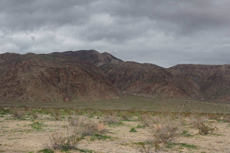 Looking back at Pinto Mountain. Clouds are getting dark, hope to make it back to the truck before it starts to rain.