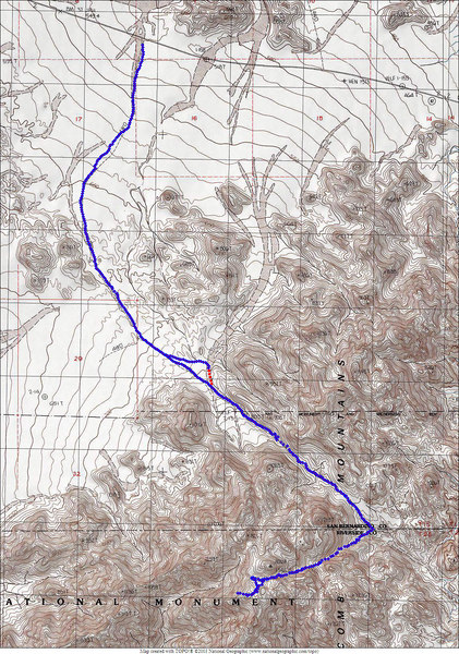 The GPS track. The red dots are where we missed the road on the way out and followed the wash for awhile. <br /> <br /> THE END