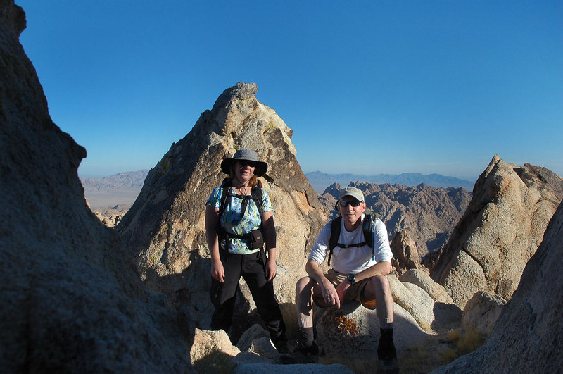 Kathy and me just below the peak with a view to the east.