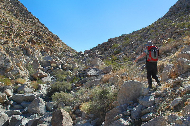 Making our way around some of the rocks as we head up the canyon.