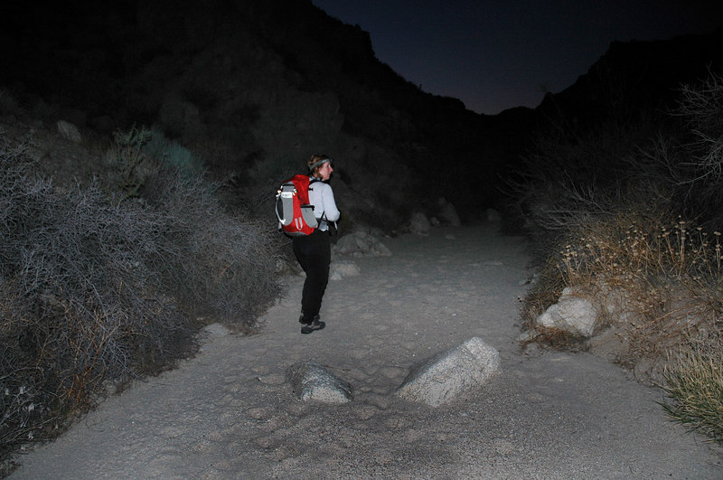 Back on the easy stuff just as it got dark. We still have a long way out.