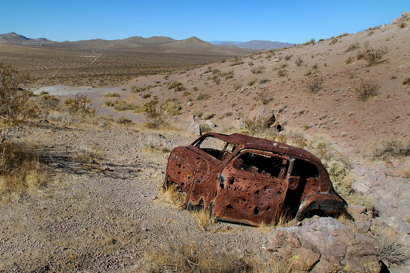 The remains of an old car was just above the well.