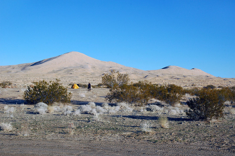 A view of the Kelso Sand Dunes from camp. Time to drive to the trailhaed for Granite Mountain.