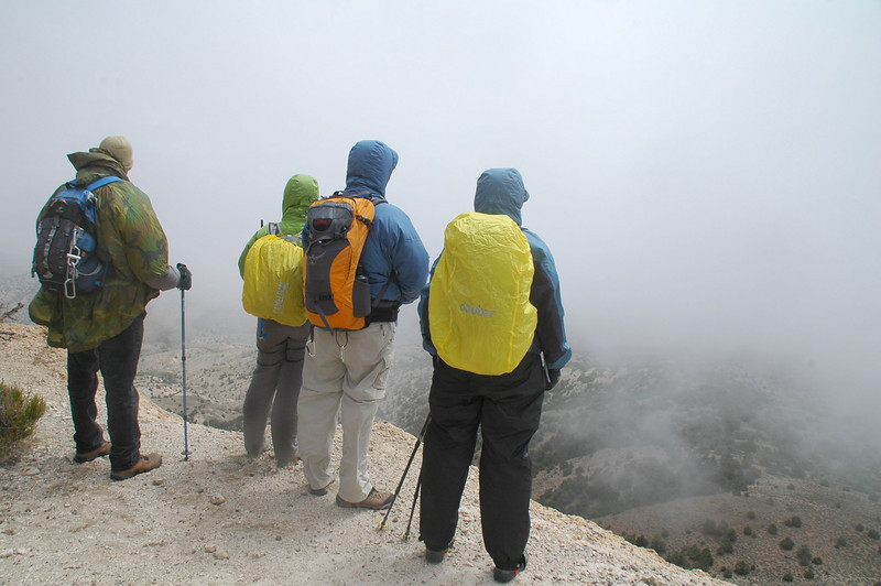 When we got to the top of the steep section, we thought it was going to snow on us, but it turned out just to be fog.