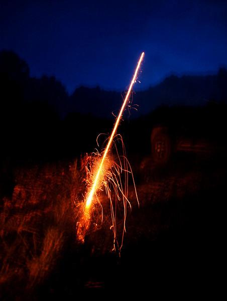 Since the area was wet, we set off a few little bottle rockets.