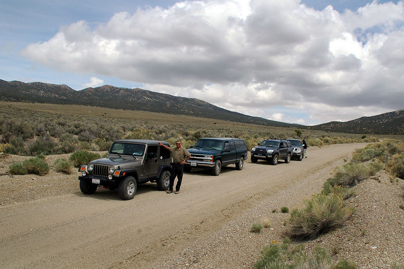 The group on the main dirt road that will lead us to Highway 264. We're moving to a new area for tomorrows hike to Blue Dick Peak.