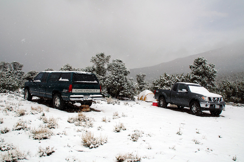 A few hours later it was snowing. Camp was at about 7,300 feet.