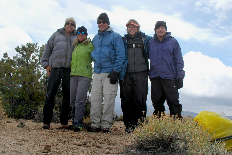 Tom, Sooz, Chip, Robin and me, Joe on top of Rhyolite Ridge at 8,550 feet.