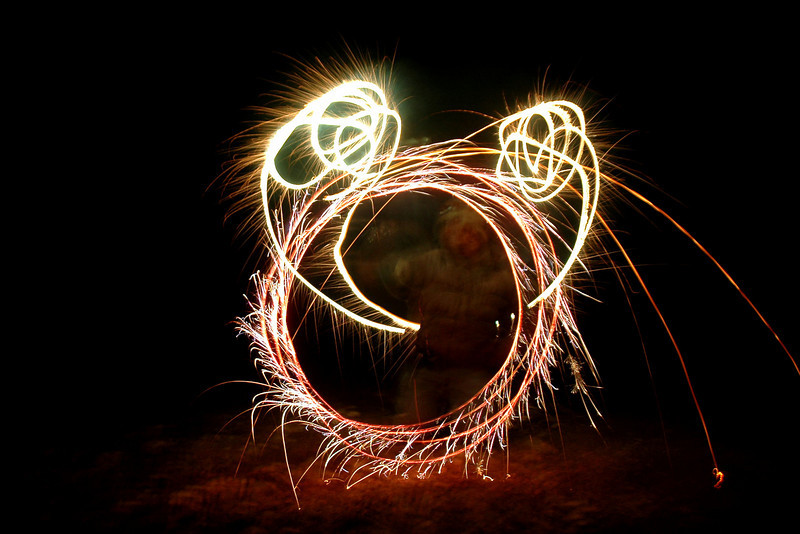 We had some fireworks left over. This is attempt at drawing Mickey Mouse.