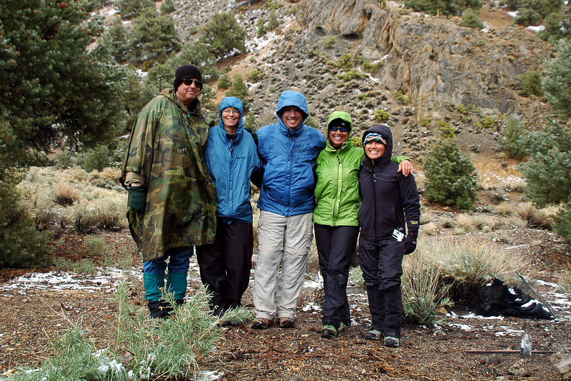 It did stop snowing. I wasn't into doing the hike and hung around camp. The rest of the group is ready to go.